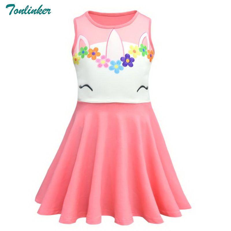 73cb569e7e16 Tonlinker New 2018 Little Girls Princess Rapunzel Unicorn Rainbow Flower  Smile Dress Cosplay Halloween Birthday Party Dress Pink Nun Costume Cheap  Costumes ...