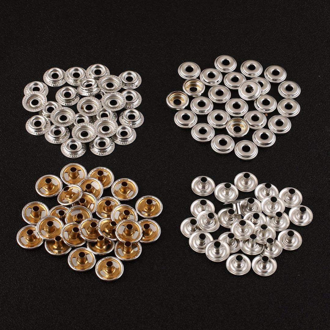 100pcs 25 Sets Stainless Steel Snap Fastener Mayitr Press Stud Cap Silver Buttons For Canvas Leather Craft Jackets Bags Sewing