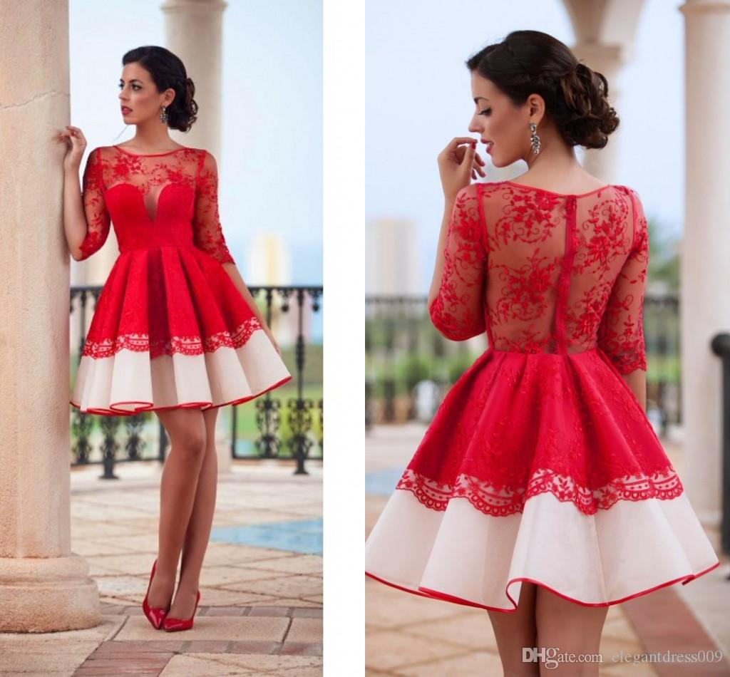 2018 New Design Red Homecoming Dresses Lace Applique 1/2 Sleeves Graduation Dresses Sweet 16 Dresses Short Prom Dress Cocktail Dress