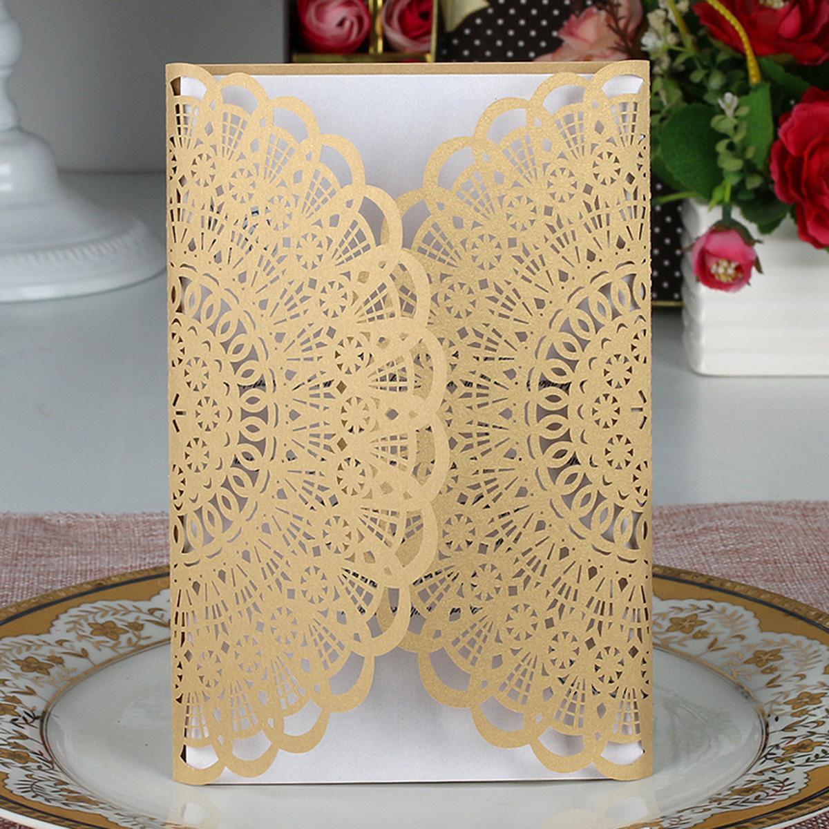 Grosshandel 10 Stucke Hohle Blume Hochzeit Einladungskarten Papier