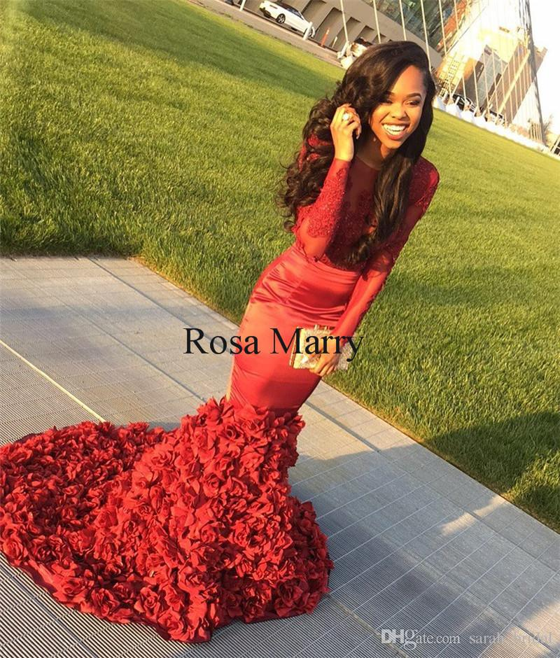 a6395f1ef6e Sexy African Mermaid 2K18 Prom Dresses With 3D Floral Skirt 2018 Red  Vintage Lace Cheap Couple Fashion Formal Graduation Evening Party Gowns  Prom Dresses ...