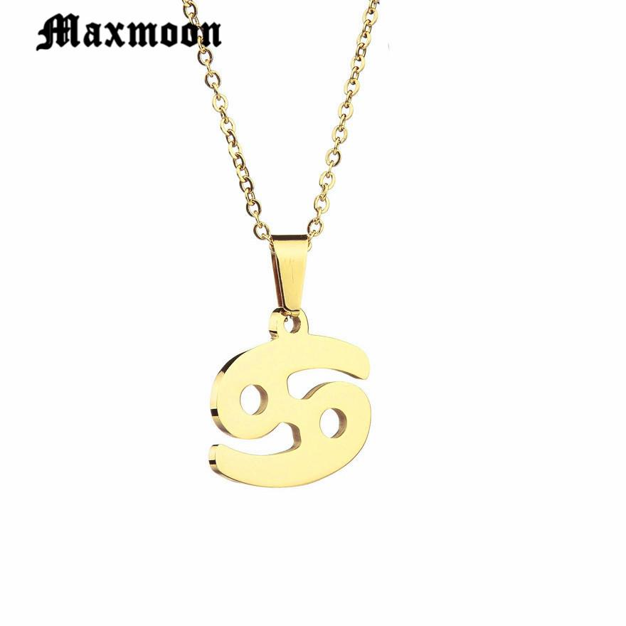 Wholesale Maxmoon Zodiac Signs Necklace For Men Women Best Friend Birthday Gift Gold Color Stainless Steel Cancer Constellations Coin Pendant