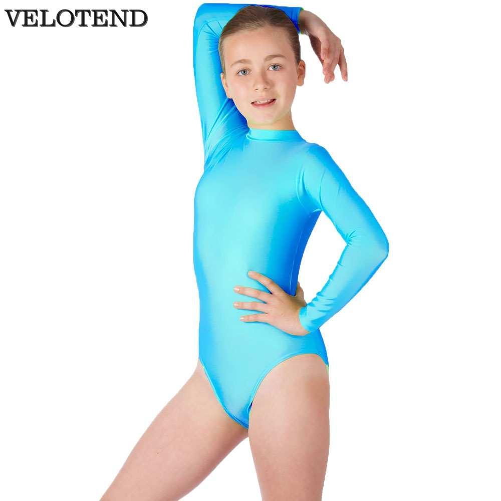 bd5ddde47299 Children's High Neck Leotard Gymnastics Performance Leotards For Girls  Turtleneck Long Sleeve Ballet Dance Short Unitard