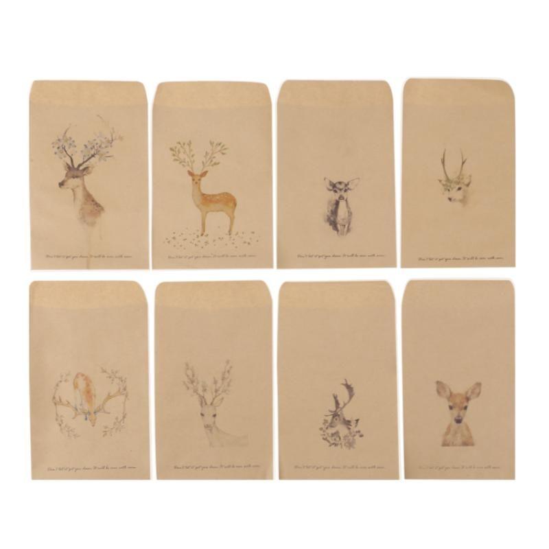 2019 Vodool Paper Envelopes 8 Designs Cute Mini Deer Retro Kraft