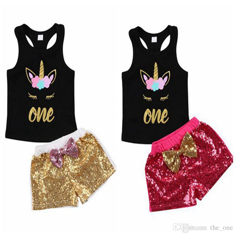 22310bb016d7 2019 Toddler Kids Baby Girl Unicorn Clothes Set Cartoon Vest T Shirt Sequins  Bow Shorts Outfits Birthday Costume For Girls From The_one, $9.24 |  DHgate.Com