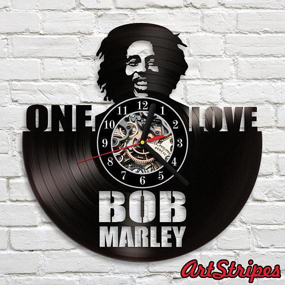 Bob Marley Vinyl Clock Rasta Jamaican Gift Idea Art Decor Vinyl