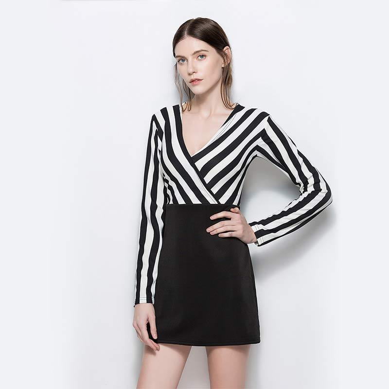 Black White Striped High Waist Dresses Women 2018 Summer V Neck Full ...