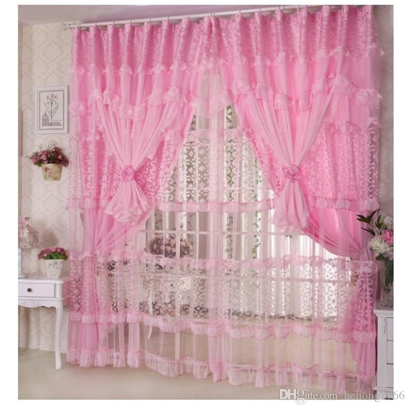 2019 Fashion Hand Made Lace Curtain Solid Color Polyester Fiber