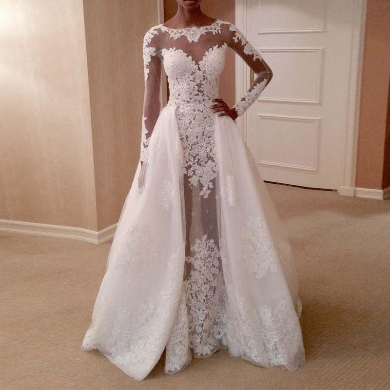 7d14e4321ac 2019 Sexy See Through Back Long Sleeve Detachable Train Mermaid Wedding  Dresses Sheer Neck Appliques Lace Wedding Dress Vestidos De Novia Vintage  Bridal ...