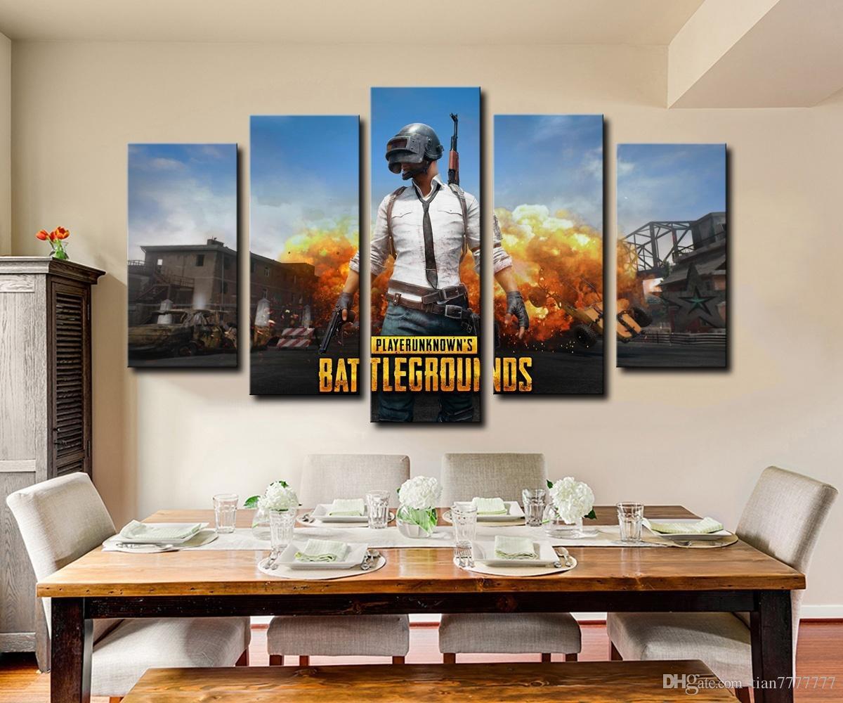 Neue Heiße Spiel PUBG Poster Malerei 5 Panel Kein Rahmen Wandkunst Modulare Bild Für Schlafzimmer Wohnkultur HD Print Beliebte Geschenk