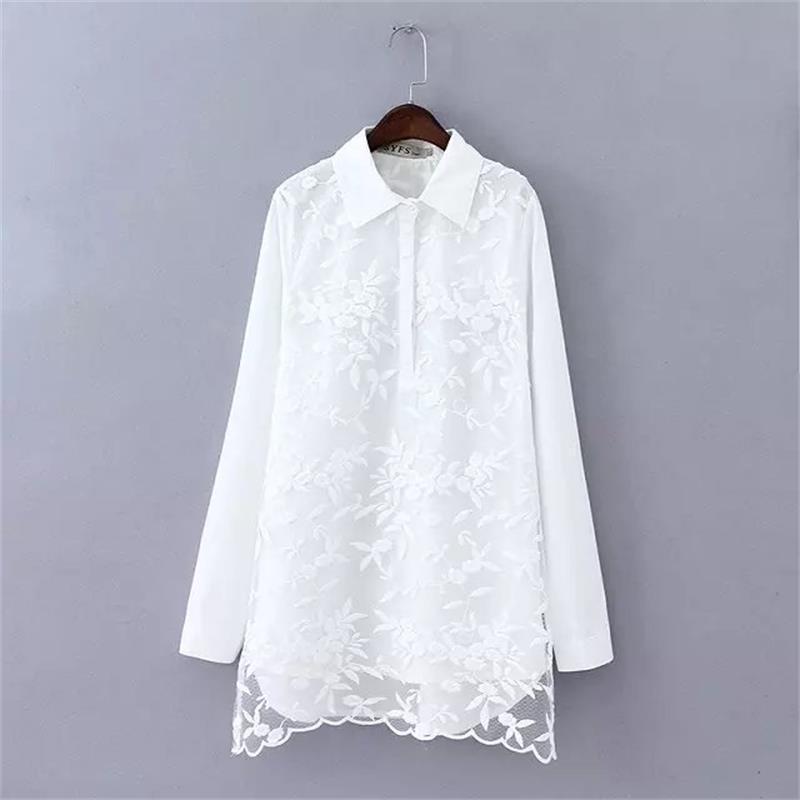 7c68615abae56 2019 Plus Size White Lace Patchwork Cotton Blouse Women 2018 Casual ...