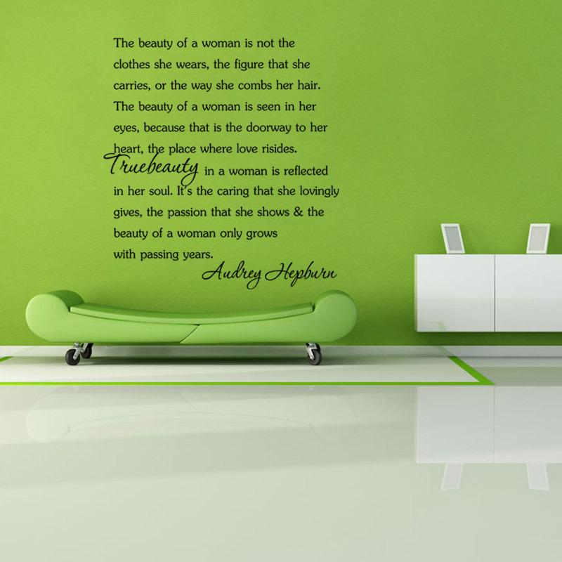 Ecoration Murale Beauty Woman Audrey Hepburn Quotes DIY Wall Sticker Vinyl  Wall Art Home Decor Mural Fashion Sayings For Women Free Ship... Letter Wall  ... 9c084ff09