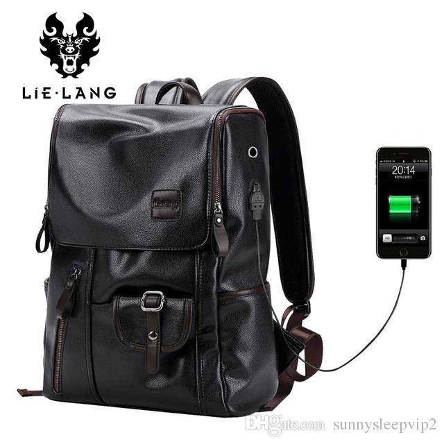 20c8ccb931 Acquista Lielang Marca Zaino Da Uomo Esterno USB Carica Antifurto Scuola  Borsa Pu Borsa Da Viaggio In Pelle Casual Bagpack 14 Pollici Laptop Zaino A  $56.86 ...