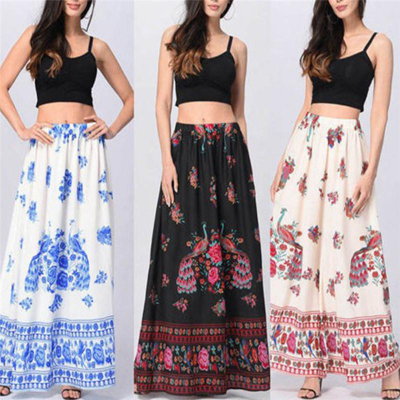 b96cd800d6 2019 Women Summer Beach Floral Holiday Long Skirt Female Chic Vintage Boho  Maxi Skirt High Waist Polyester Vestido From Redbud06, $21.79 | DHgate.Com