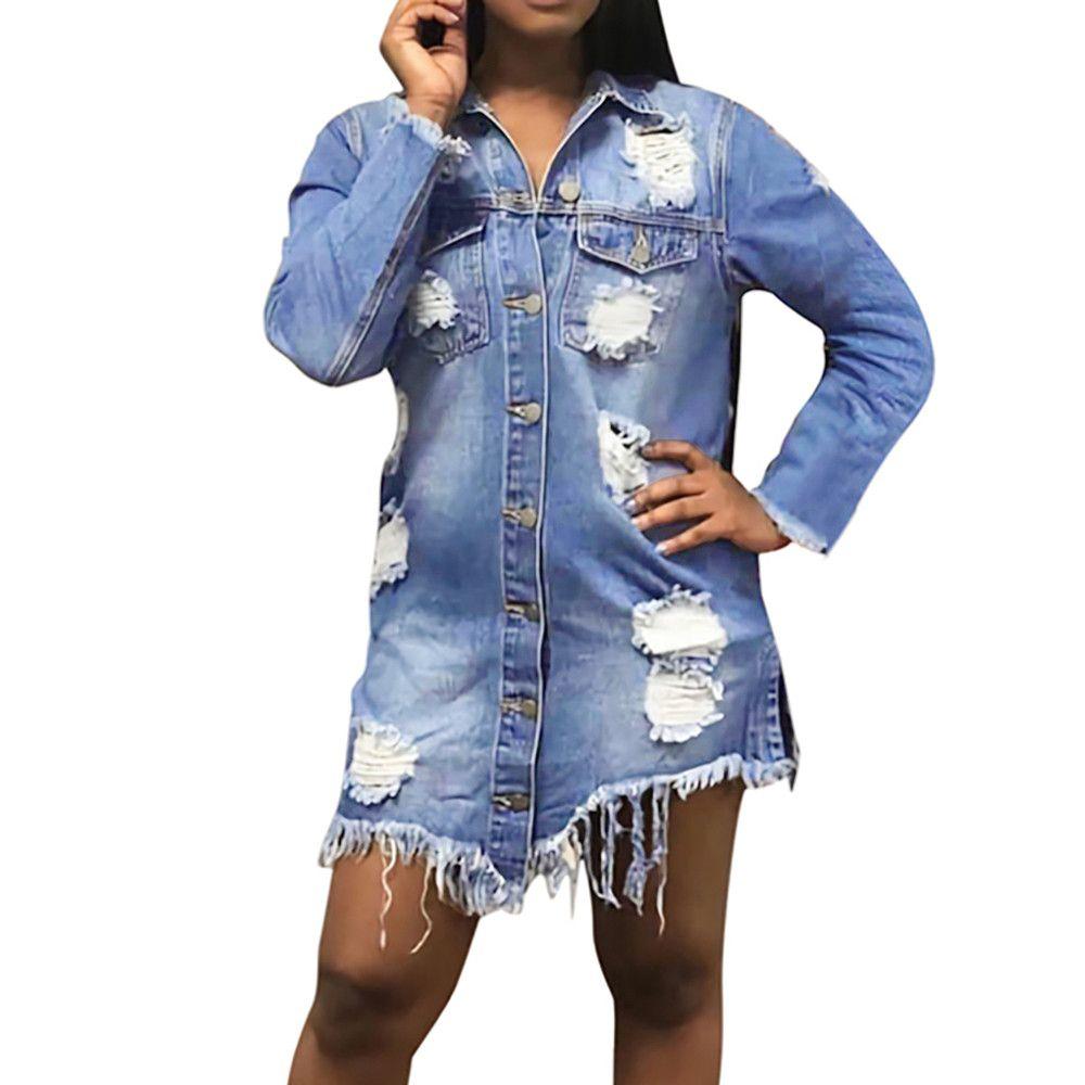 758bd7754 FeiTong Jacket Denim Coat Women Casual Plus Size Long Sleeve Cowboy Coat  Bllouse Button Shirt Tops Women Bomber Jacket Autumn