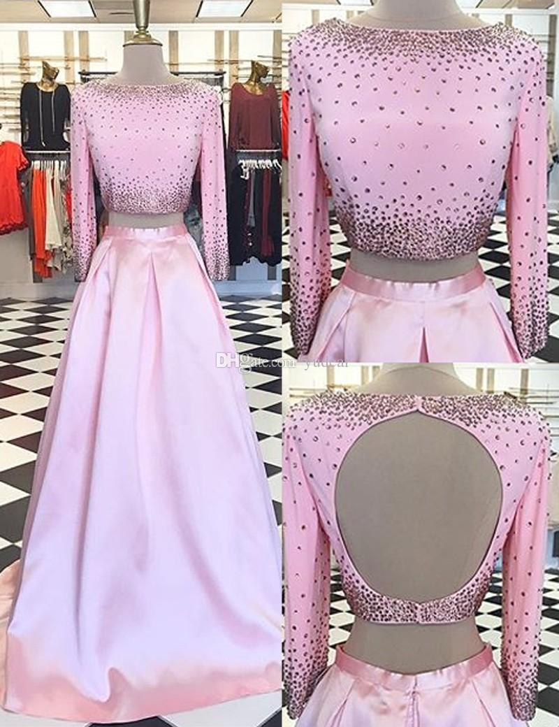 2019 Çarpıcı Süpürgelik İki Adet Bateau Kadınlar Gelinlik 3/4 Uzun Kollu Pembe Aç geri Uzun Abiye Yüksek Kalite Sıcak Elbiseler