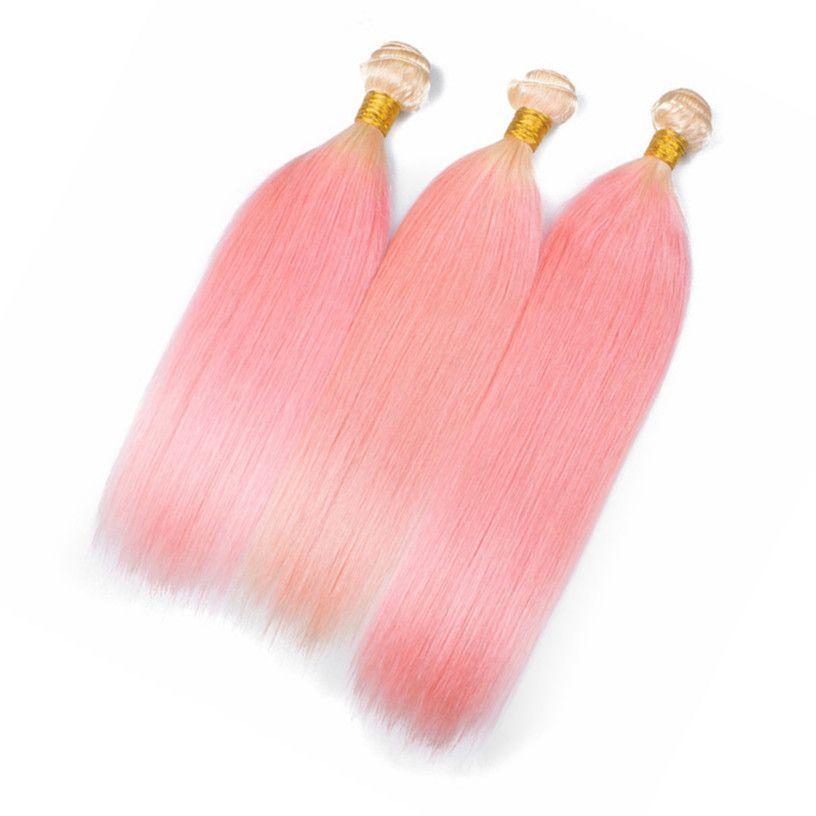 Bundle de cheveux brésiliens n ° 613 / rose Ombre traite Bundles soyeux blonds et roses à deux tons Ombre