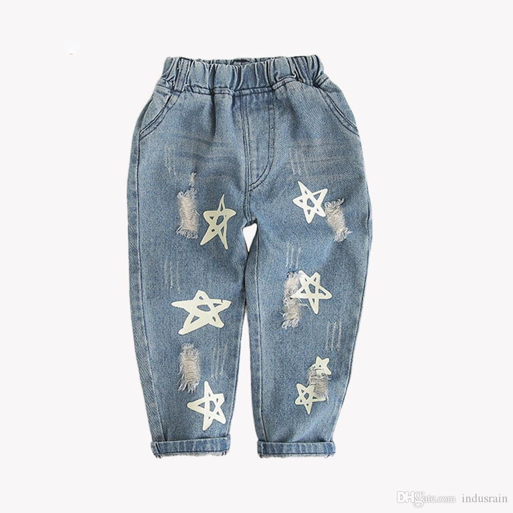 3716459df Babyinstar Boys & Girls Ripped Jeans Fall Style Trend Denim Trousers For  Kids Distrressed Hole Pants Children Star Jeans Tops And Jeans For Girls  Jeans And ...