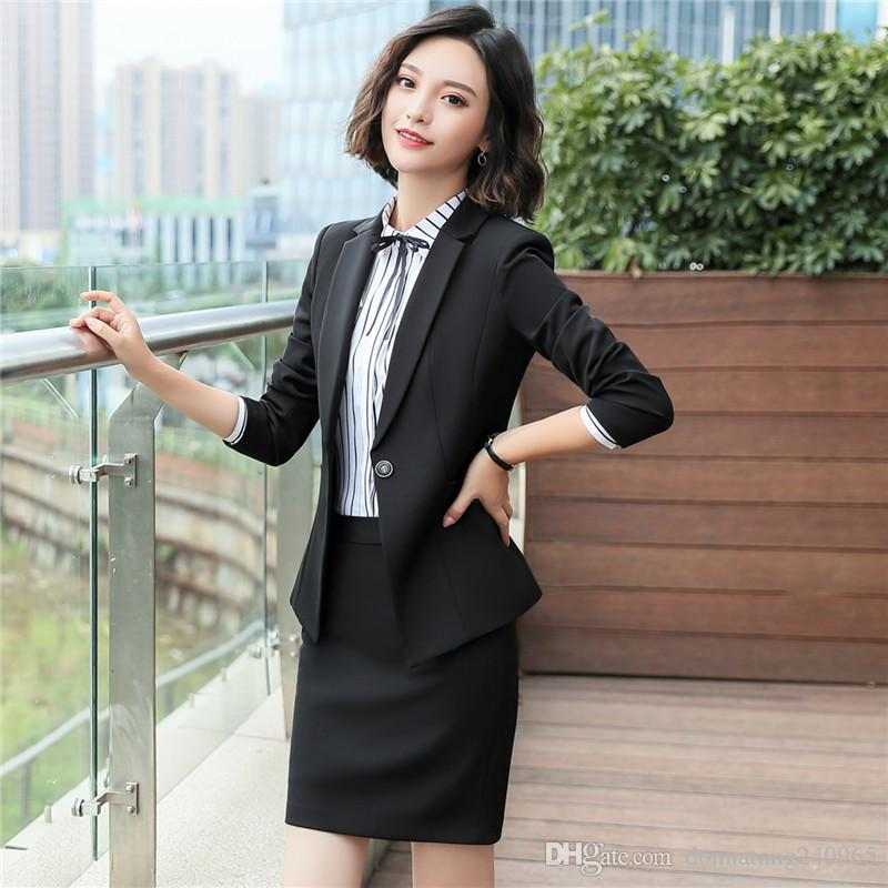 66602a205210 2019 Business Formal Women Black Skirt Suit Spring  Autumn Fashion Elegant  Blazer And Skirt Office Interview Plus Size Work Wear 6001 From  Donnatang240965