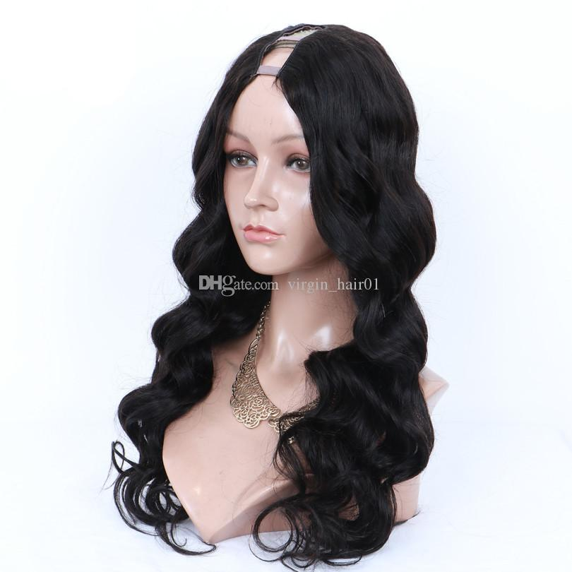 1423f4489 Body Wave U Part Human Hair Wig 100% Brazilian Virgin Hair Natural Color  Middle Openning 1*3 Inches Size Wig Middle Part For Women Synthetic Full Lace  Wigs ...