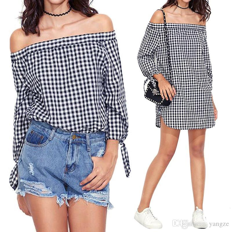 5f8a3a19bdd9 2019 New Fashion Spring Summer Plaid Shirt Women S Flutter Sleeve Panelled  Dress Casual Shoulder Leaking Blouses RF0885 From Yangze