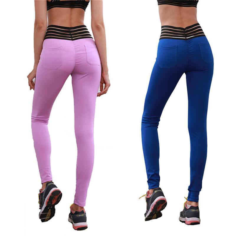 cb27fcdcf498a1 2019 2018 Yoga Pants New Lace Waist High Waist Solid Color Yoga Leggings  From Cumax, $39.75 | DHgate.Com