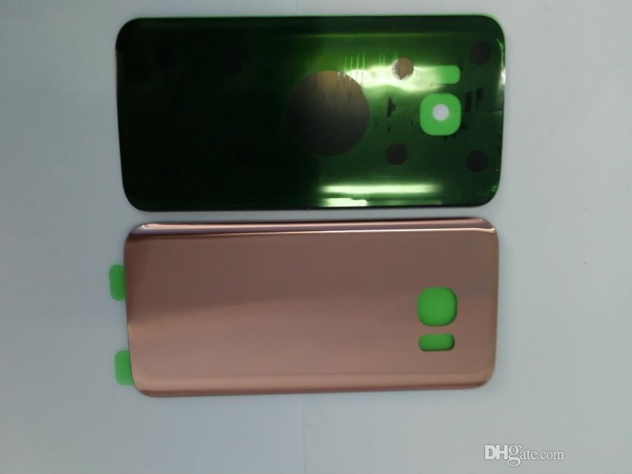 avec le logo OEM Batterie Porte couverture arrière en verre Boîtier avec couvercle de l'objectif de l'appareil photo + adhésif autocollant pour Samsung Galaxy S7 G930 S7 bord G935F
