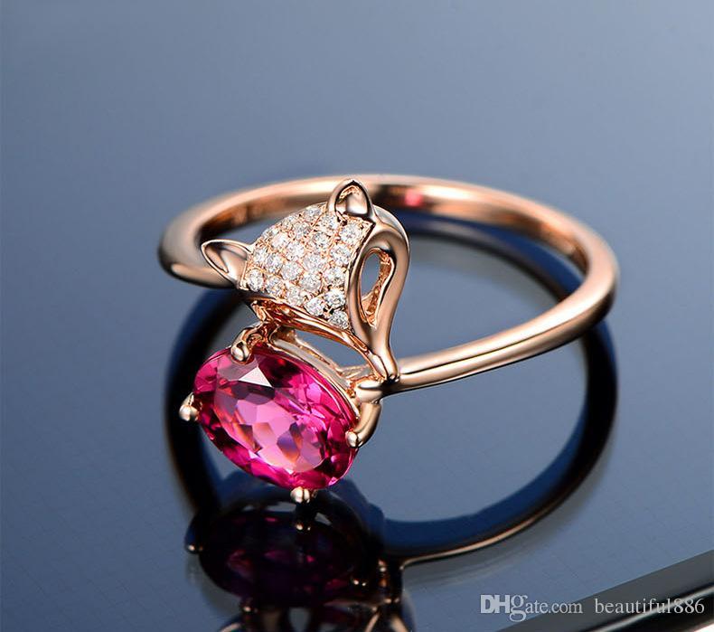 드롭 모양의 반지는 니스와 챠밍 디자인의 장미 골드, 연인 실버 링을위한 폭스 루비 링 실버 주얼리 도매