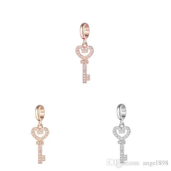 Angel bola Endless Charms Bracelet Charm Inlaid Rhinestone Brass Material Non-fading key Interchangeable Jewelry Small pendant