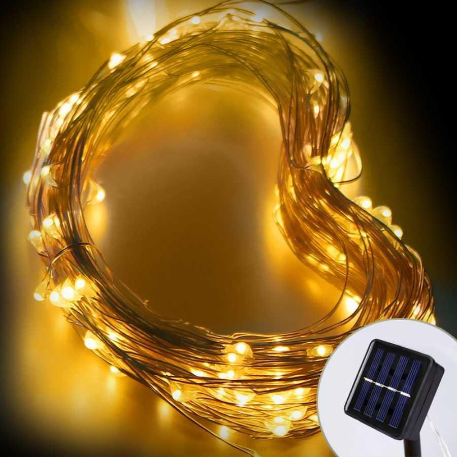 d81963d30b5 Compre Led Luces De Cadena Solar Impermeable Luz De Hadas Solar 10 M 20 M  Luz Led Para El Día De Fiesta Al Aire Libre Decoración De Navidad Garland A   20.51 ...