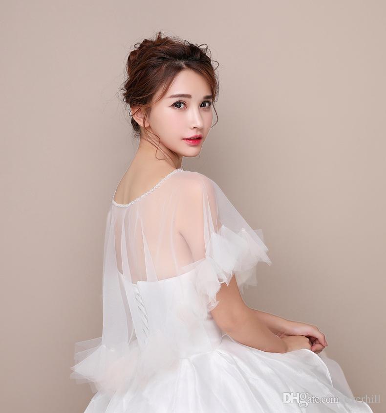 JaneVini 2018 Beaded Neck Bridal White Jacket Simple Tulle Women Wedding Dress Bolero Cape Summer Party Wraps Chaqueta Boda