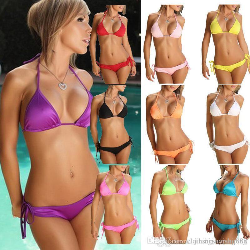 32cec183f0 2018 Swimsuit Summer New Hot Sexy Pure Color Women Bikini Set ...
