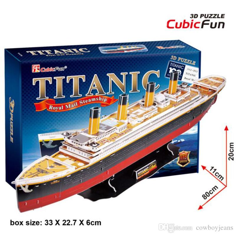 Puzzles & Geduldspiele Jungen Mädchen DIY Baustein Titanic Schiff Holzmodell Spielzeug Puzzles 3D