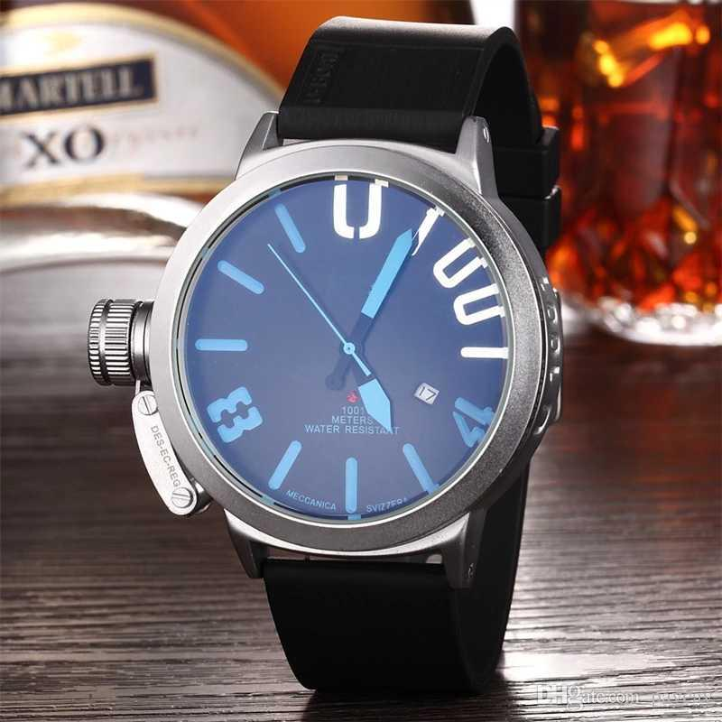 2018 Top brand Men's quartz watch Men's Stainless Steel Dial plate sport wristwatches Fashion and casual Silica gel with military watch