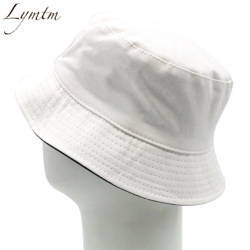 8e51ca382ce Lymtm Simple Solid White Bucket Hat Women Men Summer Foldable Beach Wide  Brim Casual Flat Top Sunbonnet Trilby Stetson Hats From Yongq