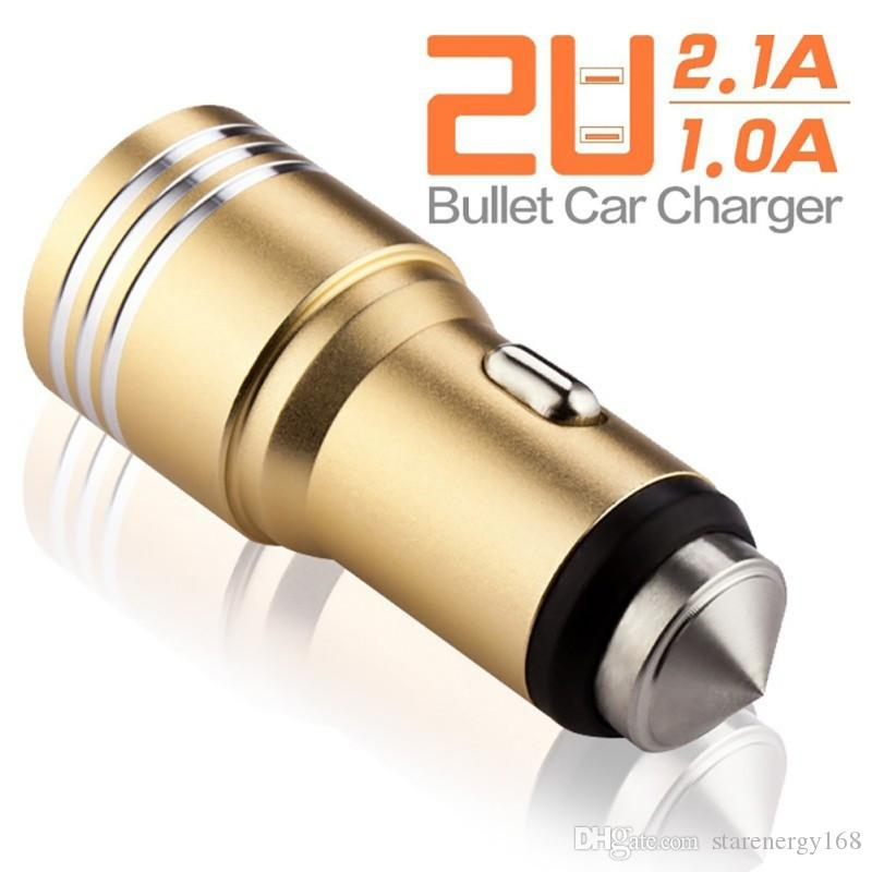 168 Dual USB Ports 2A Car Charger Aluminum Alloy material real Safety Hammer metal design for Smartphone tablet pc smart phone