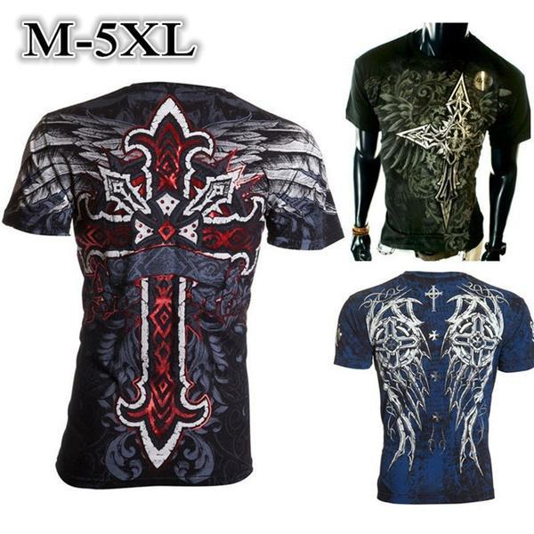 0c7494af42 Compre M 5XL Moda Masculina Cruz Asas Tatuagem Impressão T Shirt Dos Homens  Casuais Camisa De Manga Curta T Dos Homens Tops Plus Size Vestuário De  Meachaell ...