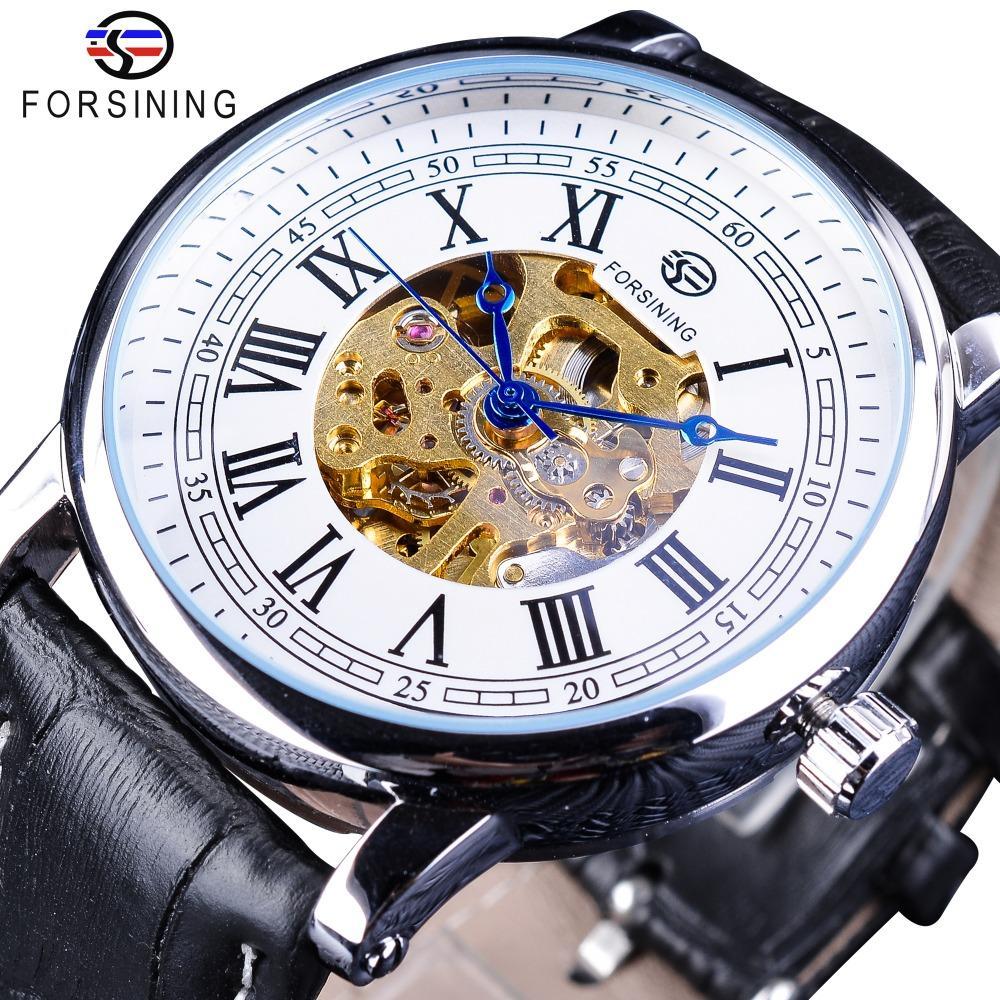 bac3150136f Compre Forsining Clássico Design Real Número Romano Cinto De Couro Preto  Movimento De Engrenagem De Ouro Mens Relógio Mecânico Top Relógio De Luxo  Da Marca ...