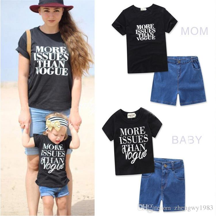 8d4a5b5caa Mother And Daughter Clothes Denim Shorts + Letter T Shirt Parent Child Matching  Outfit Kids Clothing Sets LA642 3 Matching Outfits Mother Daughter Mother  ...