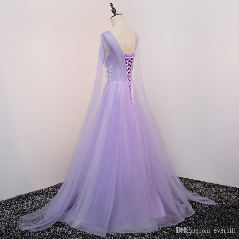 Light Purple Floor Length Prom Dresses With Long Sleeve Handmade Flowers Tulle A-Line Long Dresses For Prom Party Gowns 2018 Vestiti Da Prom