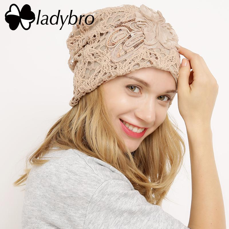 4e2cee2e Ladybro Winter Hat Cap Lace Skullies Beanie Hat Female Casual Floral Bonnet  Femme Ladies Black Knitted Spring Sequins Cap Knit Cap Slouch Beanie From  ...