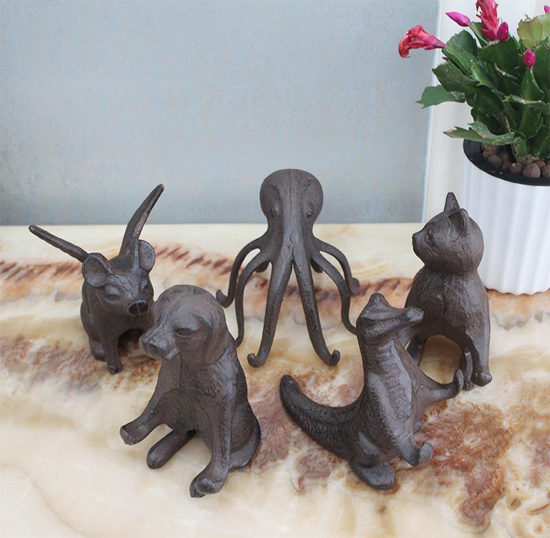 Cast Iron Cat Mobile Phone Holder Rustic Statuette Statue Figurine Mobile Phone Rack Home Bar Pub Club Desk Table Decor Vintage