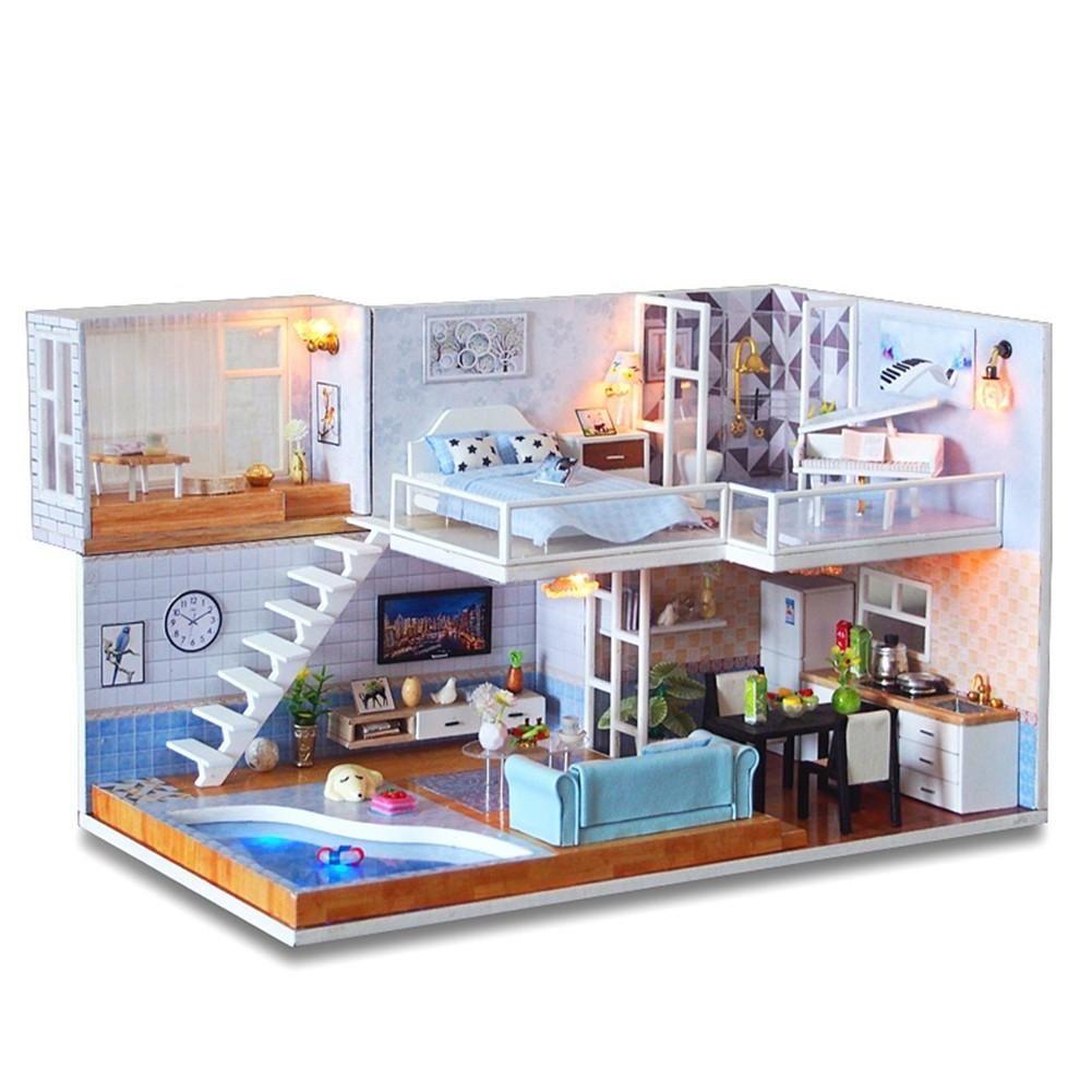 Doll House Furniture Diy Miniature 3d Wooden Miniaturas Dollhouse
