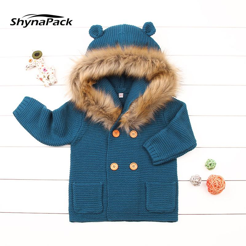 a8a9ef971a10 Winter Warm Knitted Wool Baby Jacket With Detachable Fur Collar ...