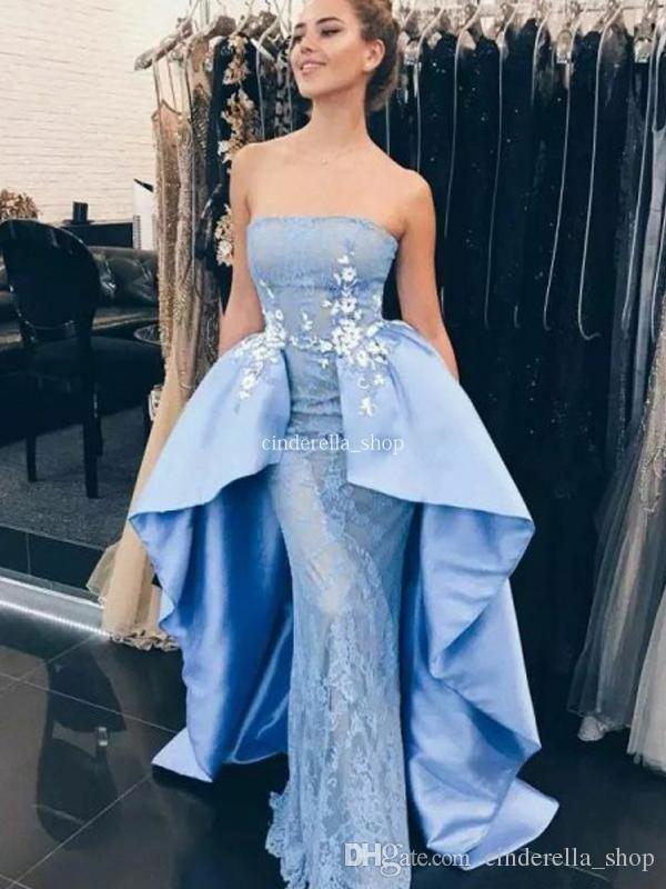 96a79f9c0ea Light Blue Lace Overskirt Evening Dresses 2019 Strapless Appliques Mermaid  Floor Length Arabic Modest Prom Party Gowns Vestidos Customized Black Dress  ...