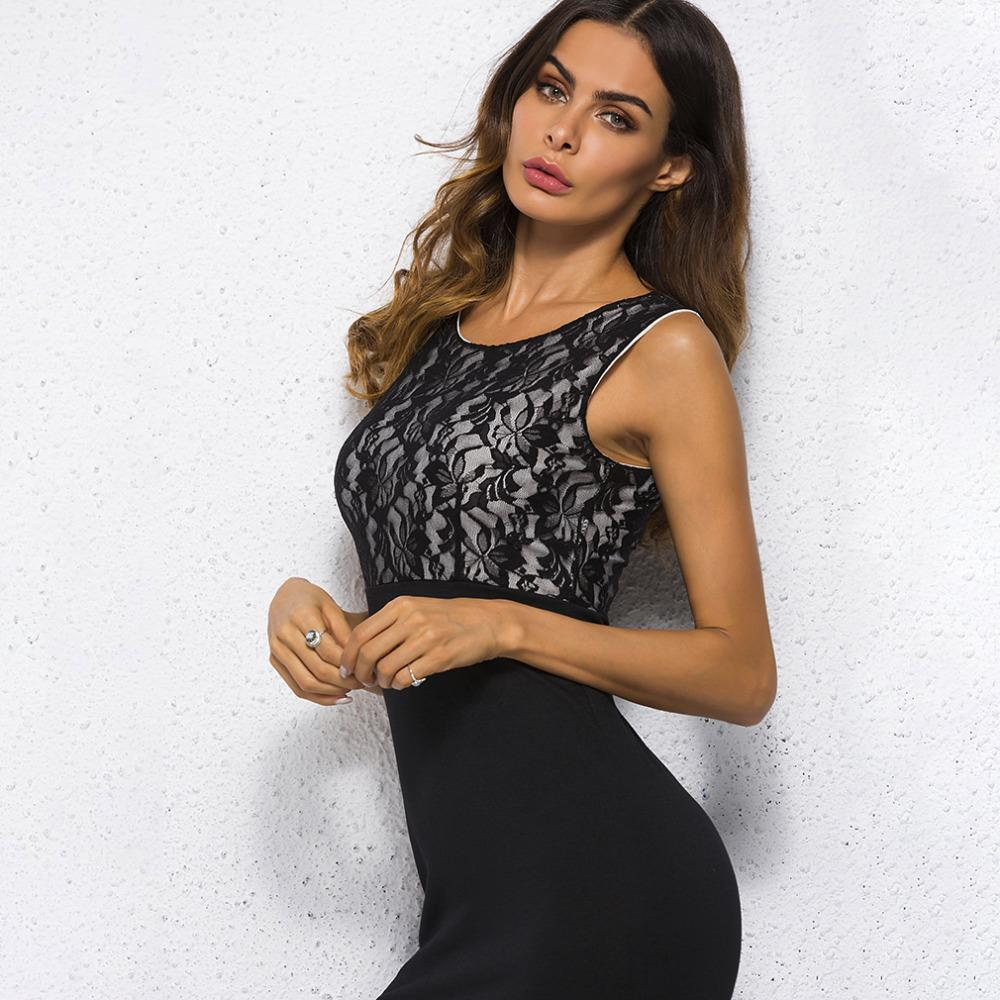 Women Dress Black Lace Bodycon Elegant Office Lady Women Dress Mini Evening  Party Sleeveless Summer New Vestidos Lace Sundresses Dresses Cocktail Party  From ... f3bb77a63f1b