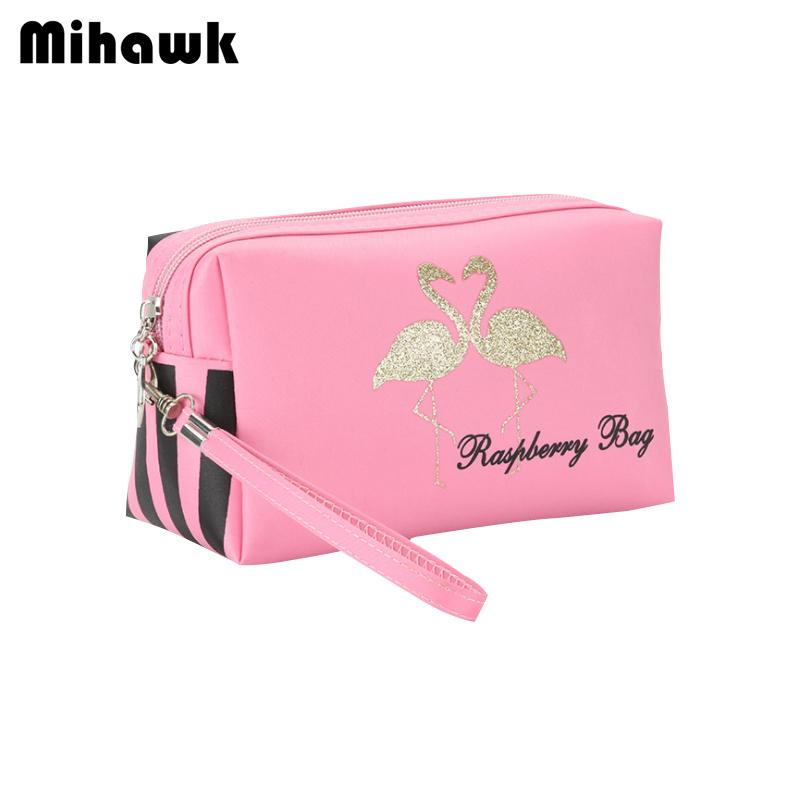 Mihawk Flamingos Pattern Cosmetic Bags Women's Beauty Case Toiletry Tote Lady Perfume Mirror Lipstick Makeup Storage Pouch Stuff