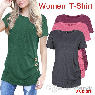 d601d4bf4553 Summer Women Short Sleeved T-shirt Button Decoration Round Neck ...