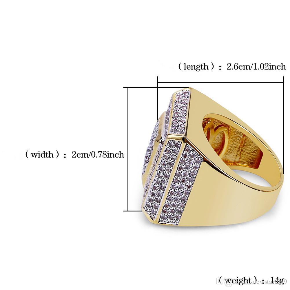 Anello di zircone micropalo placcato oro uomo di alta moda anello hiphopbling anello pieno di diamanti CZ titanio stell