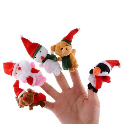 Christmas Plush Doll Finger Puppets Baby Girls Educational Finger Toys Cartoon Animal Toy